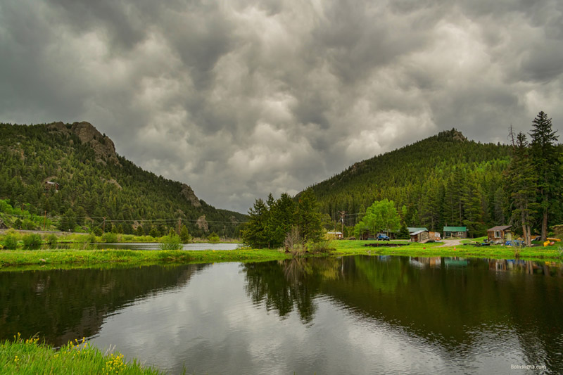 South Boulder Creek Angry Skies Art Print