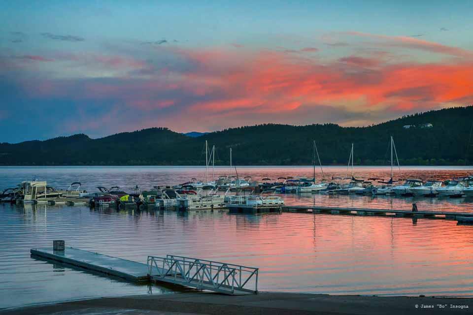 Carter Lake Mountain Lake Marina Sunset Art Print